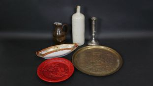 A miscellaneous collection of items, a silver plated telescopic candlestick, engraved brass tray,