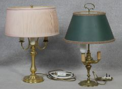 A vintage brass triple branch table lamp and another similar example. H.57cm