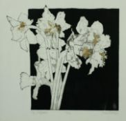 A framed and glazed signed limited edition etching of six daffodils, signed Susan Hodges, titled '