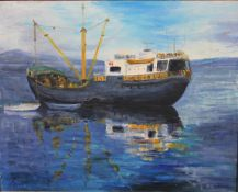 An oil on board, fishing trawler at anchor, indistinctly signed. H.41 W.51cm