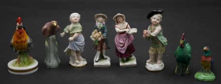 A collection of small antique porcelain handpainted figures. Inlcluding an Oriental rooster and