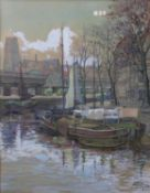 A framed and glazed watercolour, barges by a quay, signed P Tack and dated 1950. H.60 W.48