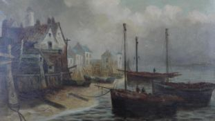 A C.1900 unframed oil on canvas, harbour setting with figures on fishing boats. H.61.5 W.92cm