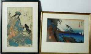 Two framed and glazed antique Japanese woodblock prints, one of Hiroshige's Satta Peak and a print