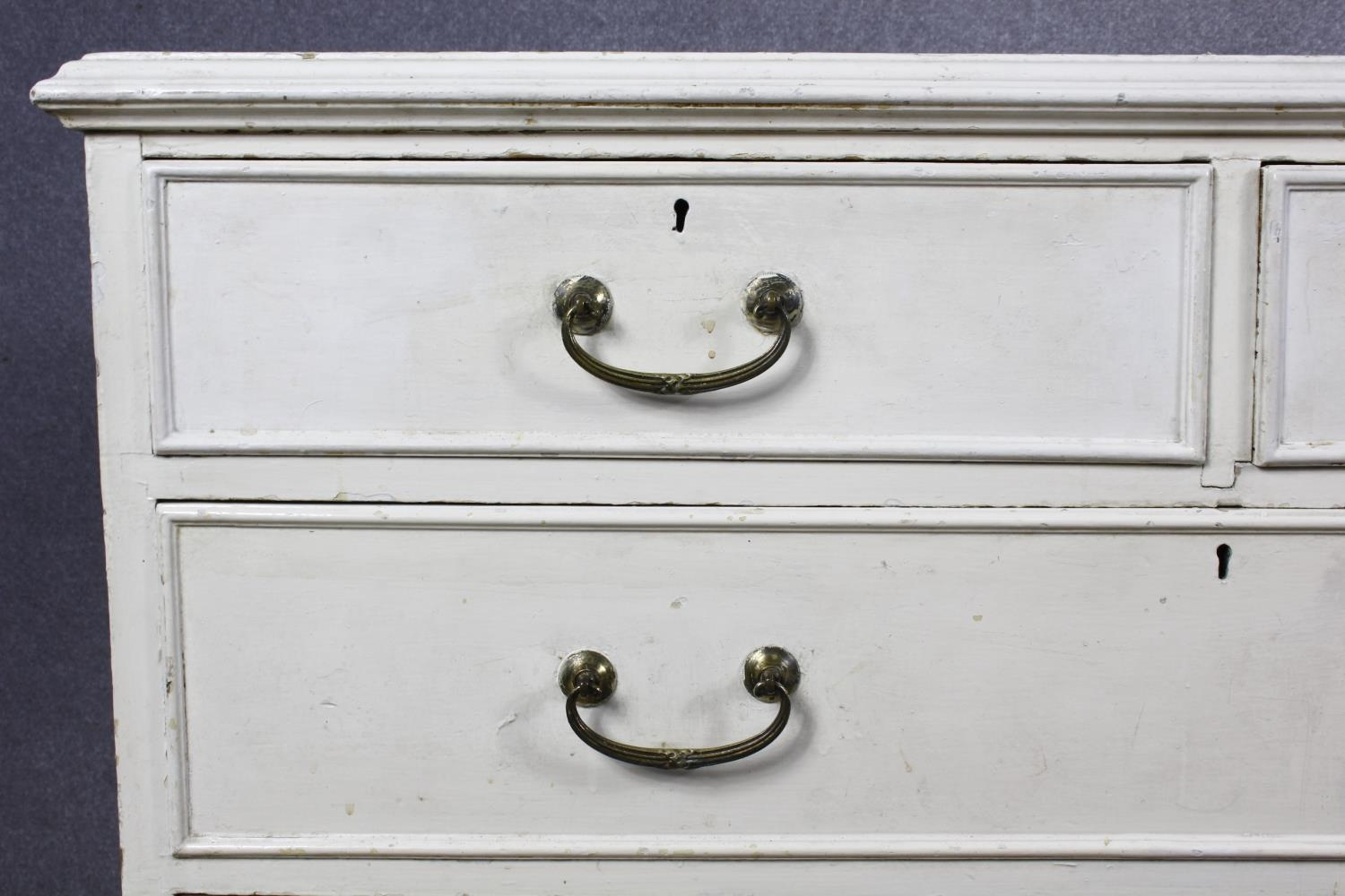 A 19th century later painted chest of two short over three long drawers on plinth base. H.87 W.104 - Image 7 of 14