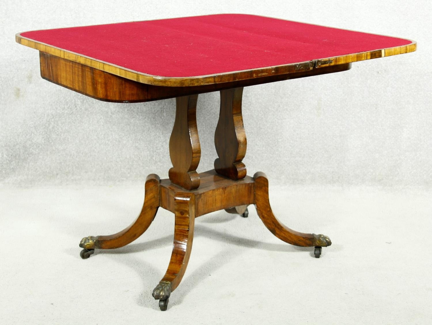 A Regency rosewood card table with foldover baize lined top on twin lyre shaped supports resting - Image 3 of 10