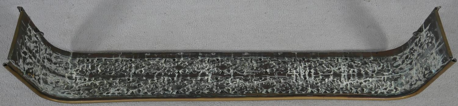 A 19th century pierced floral decorated fire fender. H.18.5 W.125 D.30cm - Image 2 of 4