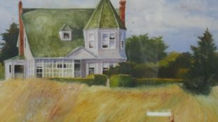 A framed and glazed watercolour. rural American house signed Teresa Saia. H.61 W.69.5cm