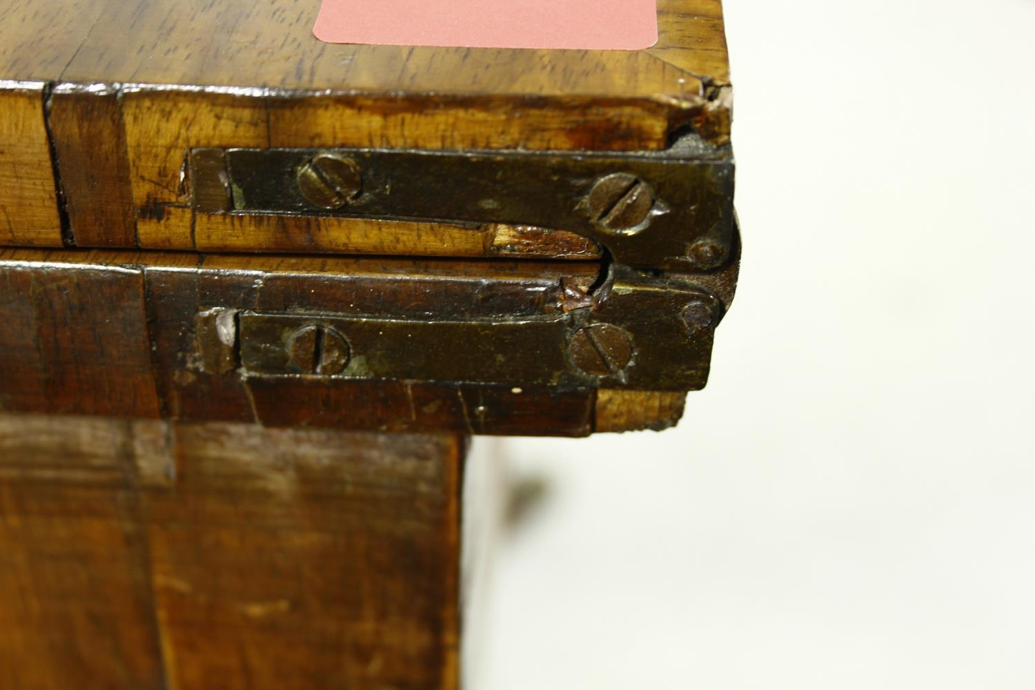 A Regency rosewood card table with foldover baize lined top on twin lyre shaped supports resting - Image 10 of 10