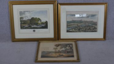 Three framed and glazed hand coloured engravings. One of 'Fleet House', 'Partridge Shooting' and'