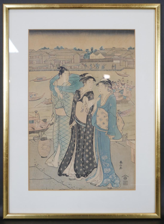 Katsukawa Shunzan - 1782-1798. A framed and glazed 18th century Japanese woodblock print, the left - Image 2 of 6