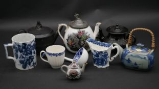 A miscellaneous collection of 19th century and later ceramics to include teapots, mik jugs etc. H.