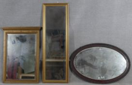 A C.1900 mahogany pier mirror with dentil cornice along with a gilt framed dressing mirror and an