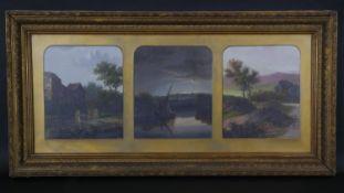 Charles Greville Morris (1861?1922). A gilt framed and glazed oil on board triptych, Sunrise, sunset