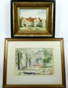 A watercolour of a park setting signed Olive Dring and another watercolour of a medieval manor