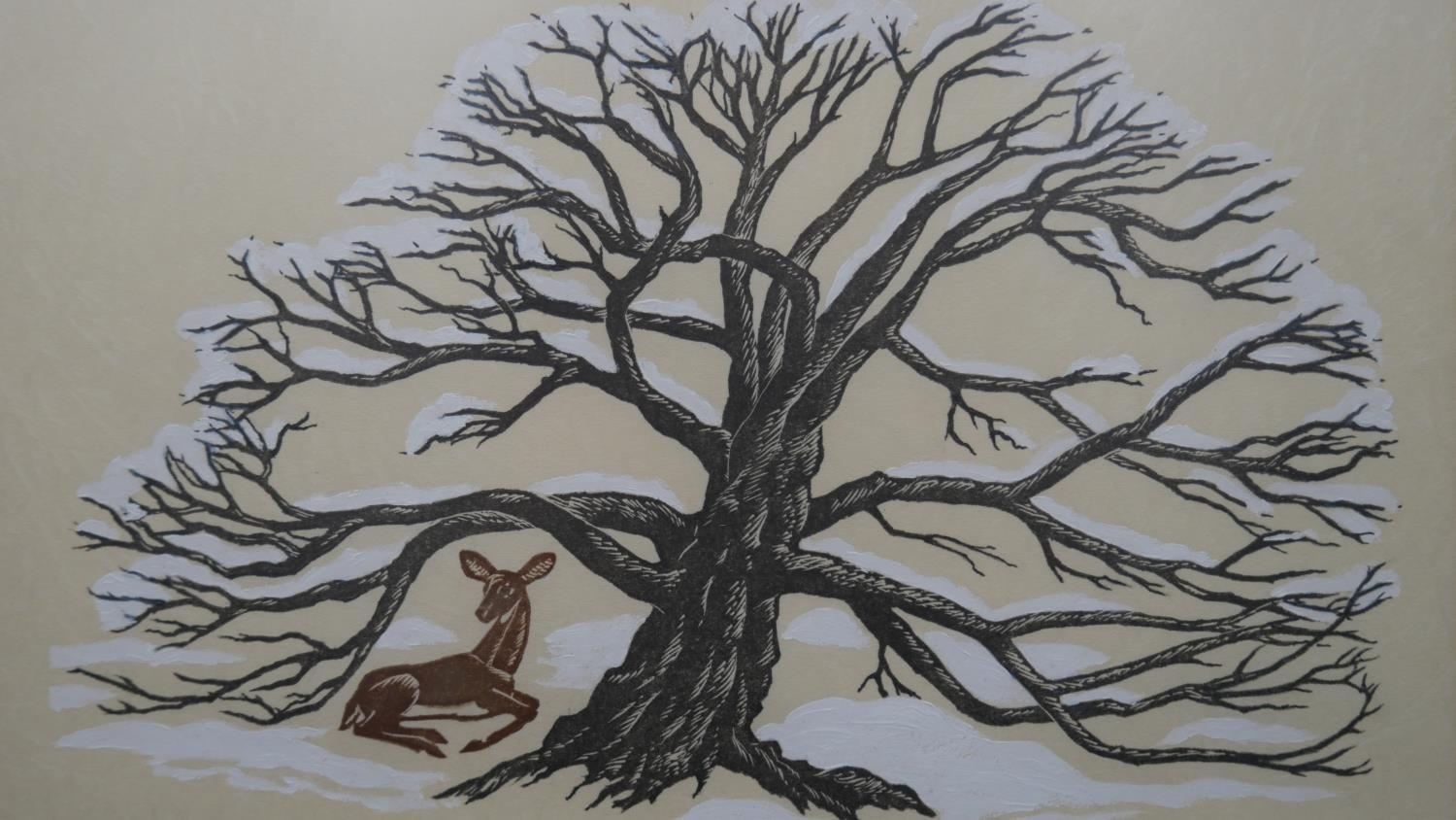 Elfriede Martha Abbe (1919-2012), a signed limited edition woodblock print 29/55, Ancient