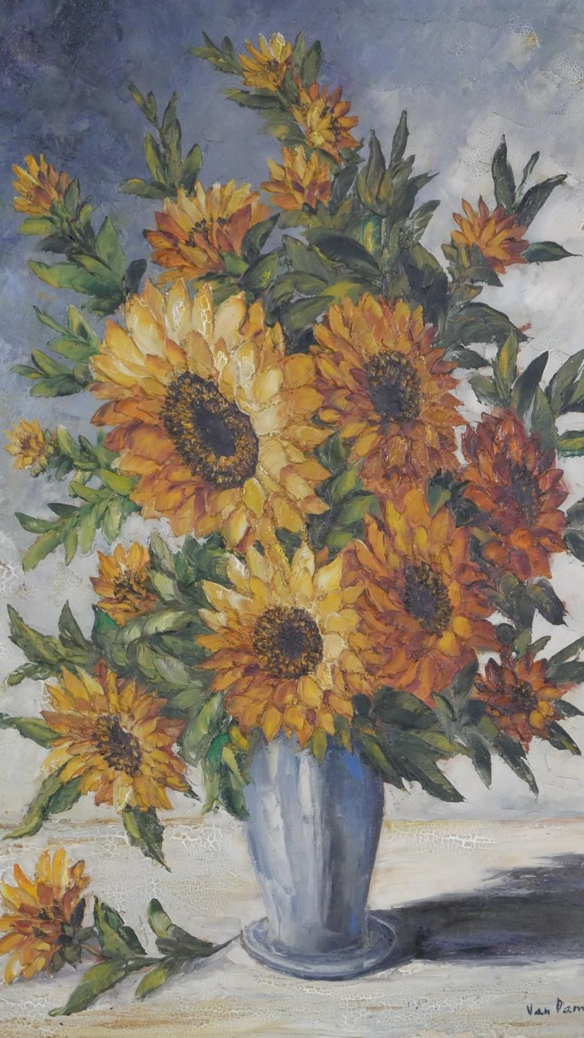 A framed oil on canvas, sunflowers in a vase, signed Van Dam. H.81 W.55.5cm