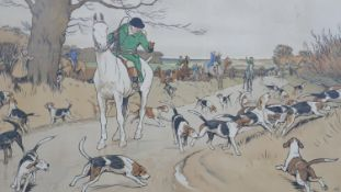 Cecil Aldin (British 1870-1935). A framed and glazed vintage hunting print titled 'The Harefield