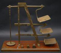 A set 19th century GPO brass triple ladder letter scales stamped De Grave & Co, London. H.33 L.41