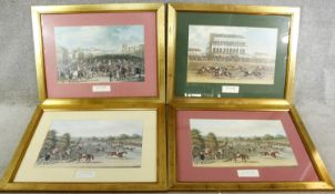 Four framed and glazed reproduction prints of scenes from Epsom races. H.57 W.75cm
