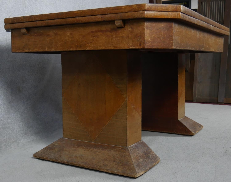 A mid century Art Deco style oak, teak and walnut segment veneered draw leaf dining table H.76 L.251 - Image 3 of 4