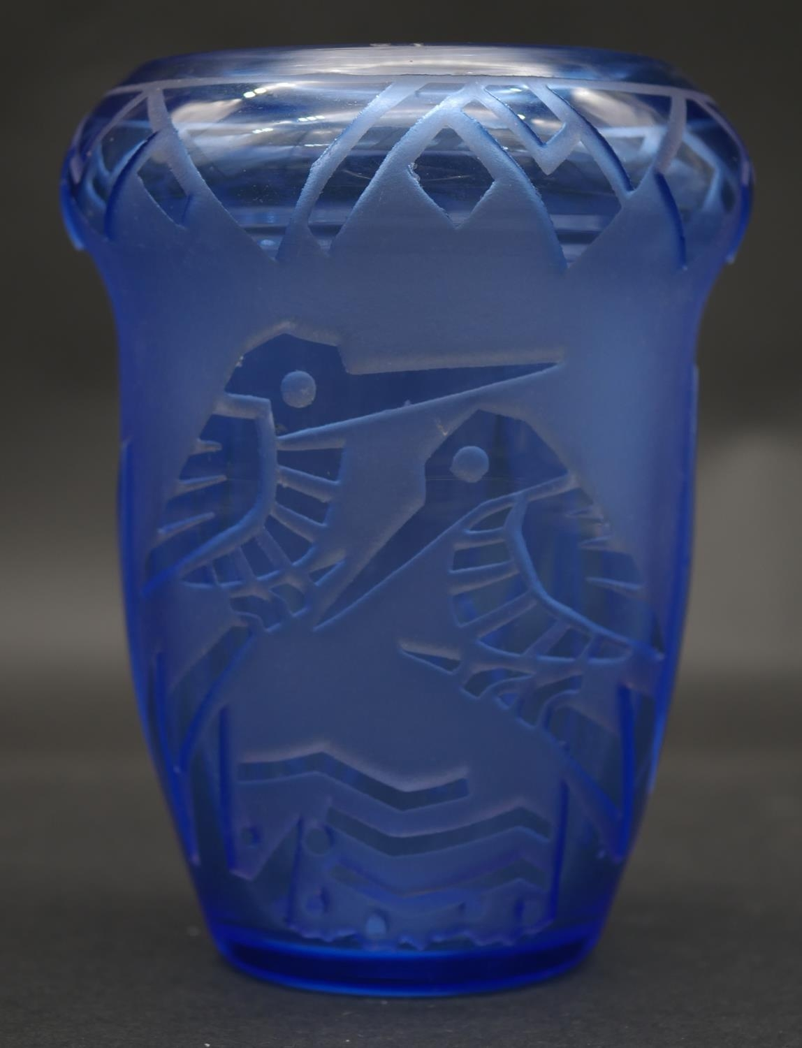 An Art Deco Muller Freres, Luneville ovoid cut blue cameo glass vase with kingfisher and foliate