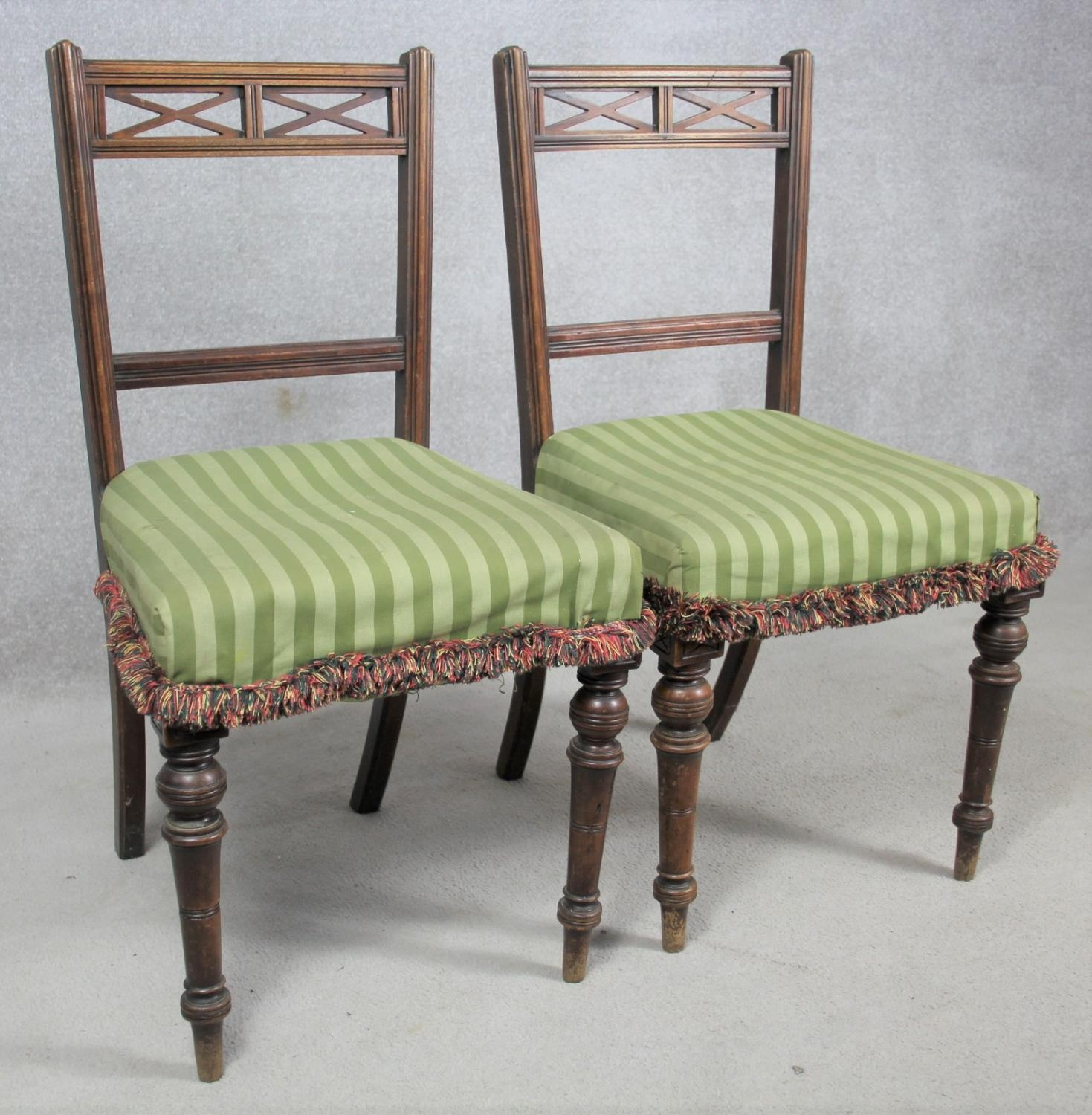 A pair of late 19th century mahogany bedroom chairs on turned tapering supports. H.87 W.48 D.50cm - Image 2 of 11