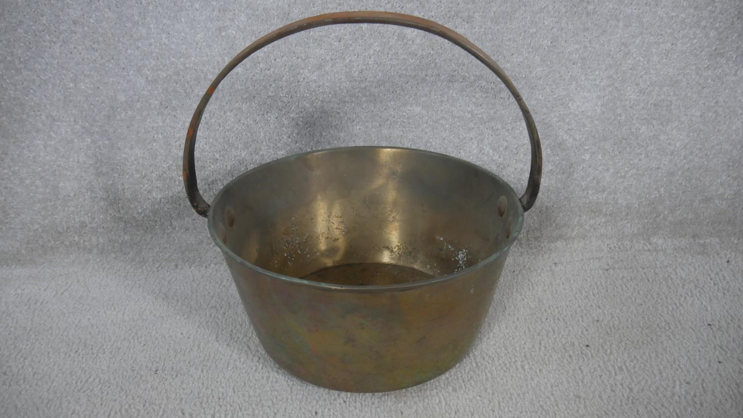 A 19th century brass wall mounted kitchen utilities rack and a heavy brass Victorian swing handled - Image 5 of 6