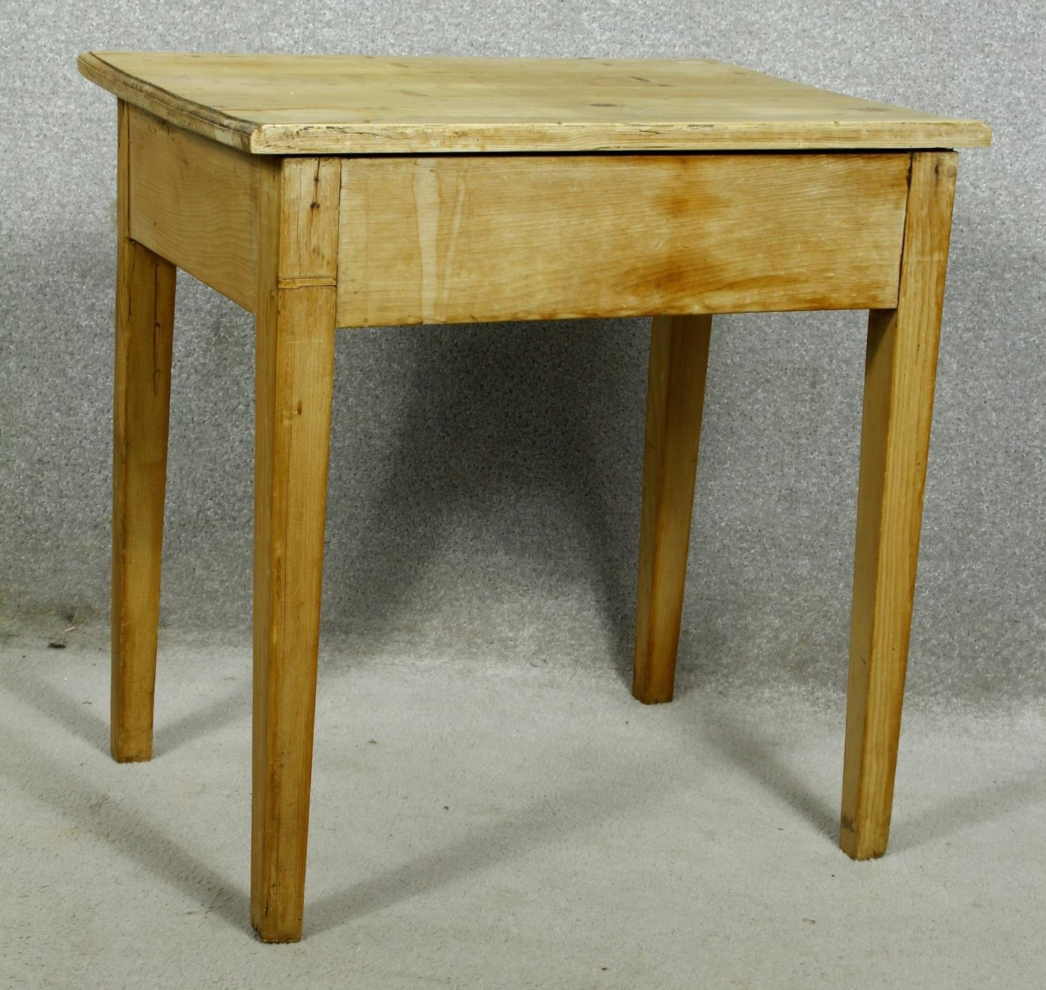 A 19th century pine side table with frieze drawers on square tapering supports. H.63 W.63 D.45cm - Image 6 of 7