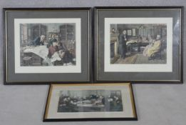 Three framed and glazed antique hand coloured engravings. A Cabinet Council at the Foreign Office,