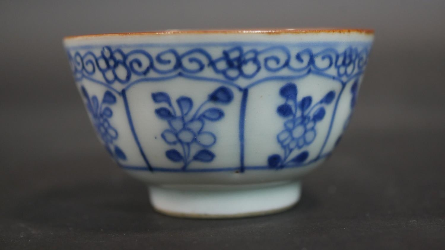 A Chinese embroidered scroll, three items of hand painted blue and white ceramics and a cased carved - Image 15 of 15