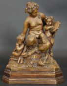 After Clodion, a terracotta figure group, musical satyrs on stepped base, signed Clodion. H.31cm
