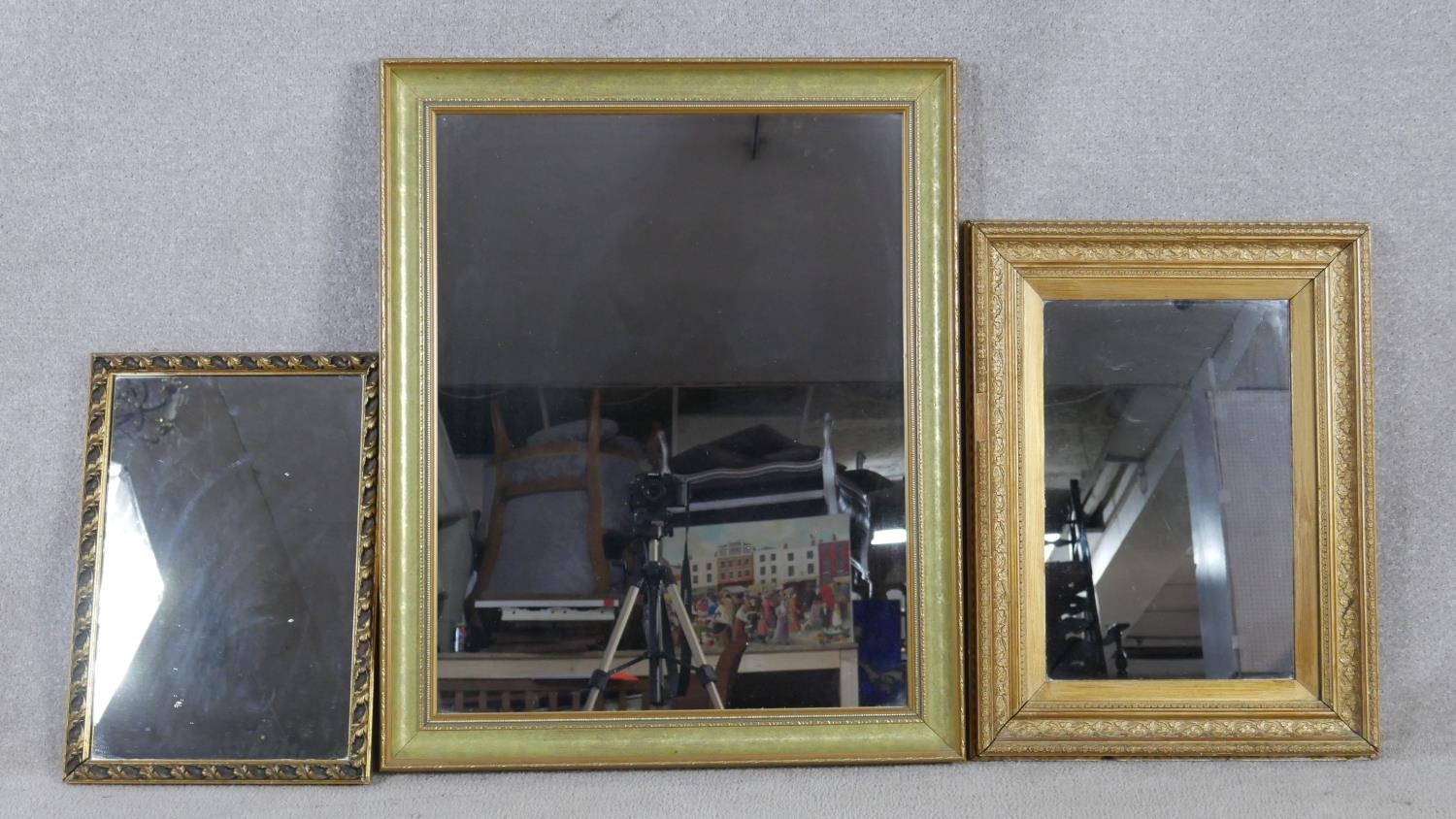 A miscellaneous collection of three gilt wall mirrors. H.83 W.68cm (Largest)