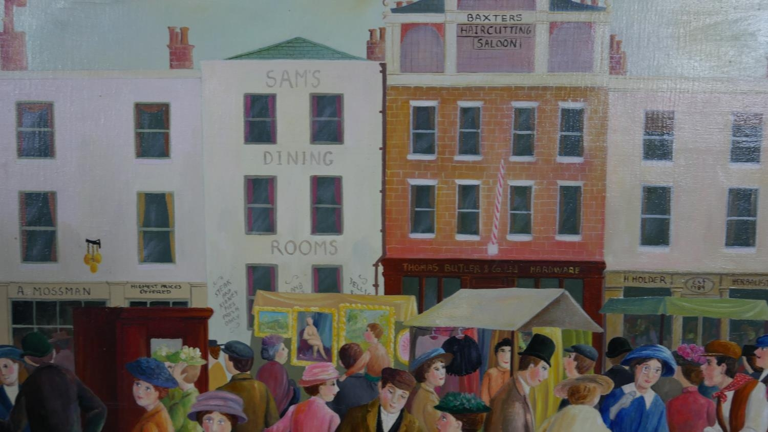 Pamela Cornell (1928-1987), unframed oil on canvas, East End Market, signed bottom right and signed, - Image 3 of 5