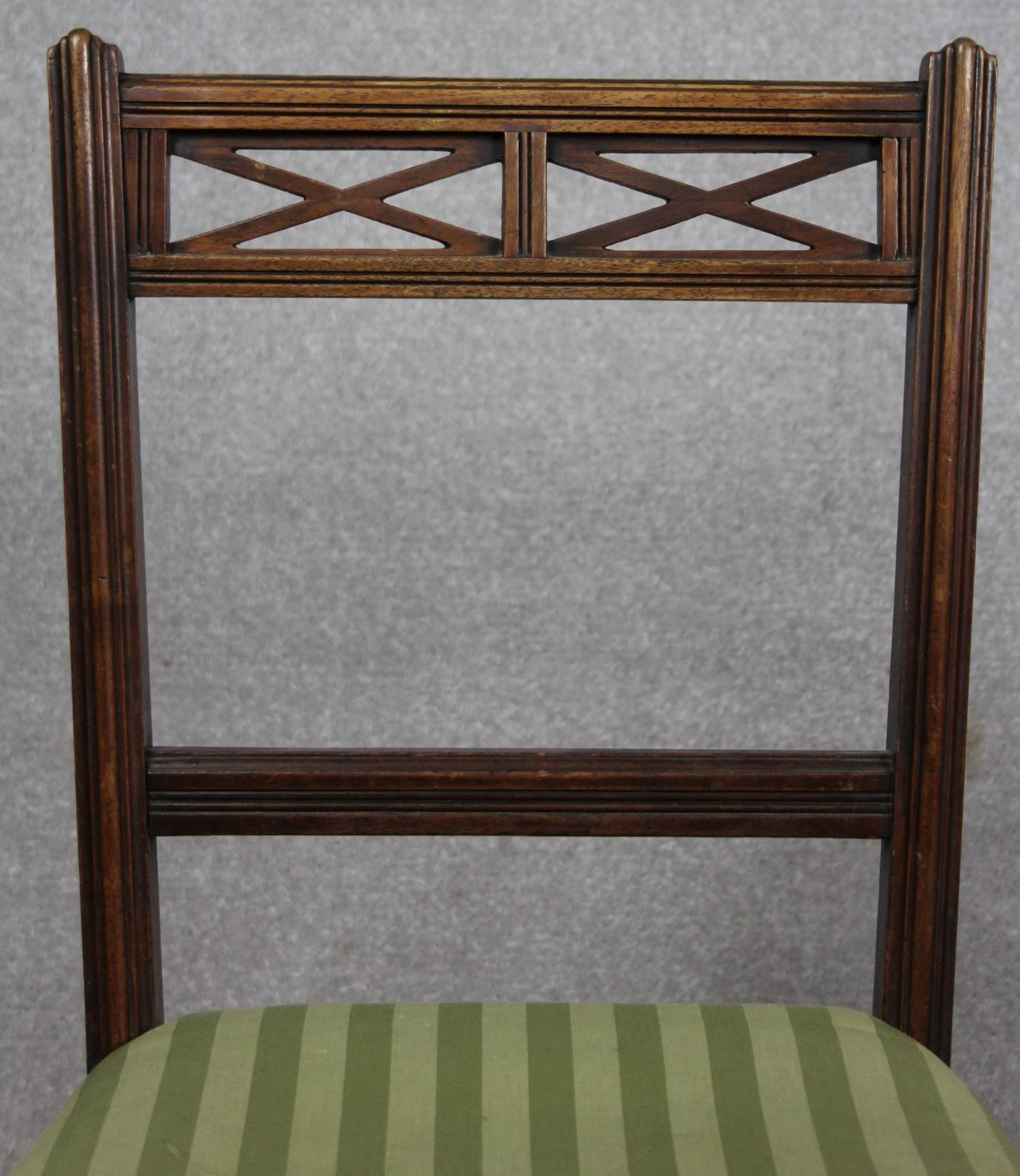 A pair of late 19th century mahogany bedroom chairs on turned tapering supports. H.87 W.48 D.50cm - Image 4 of 11