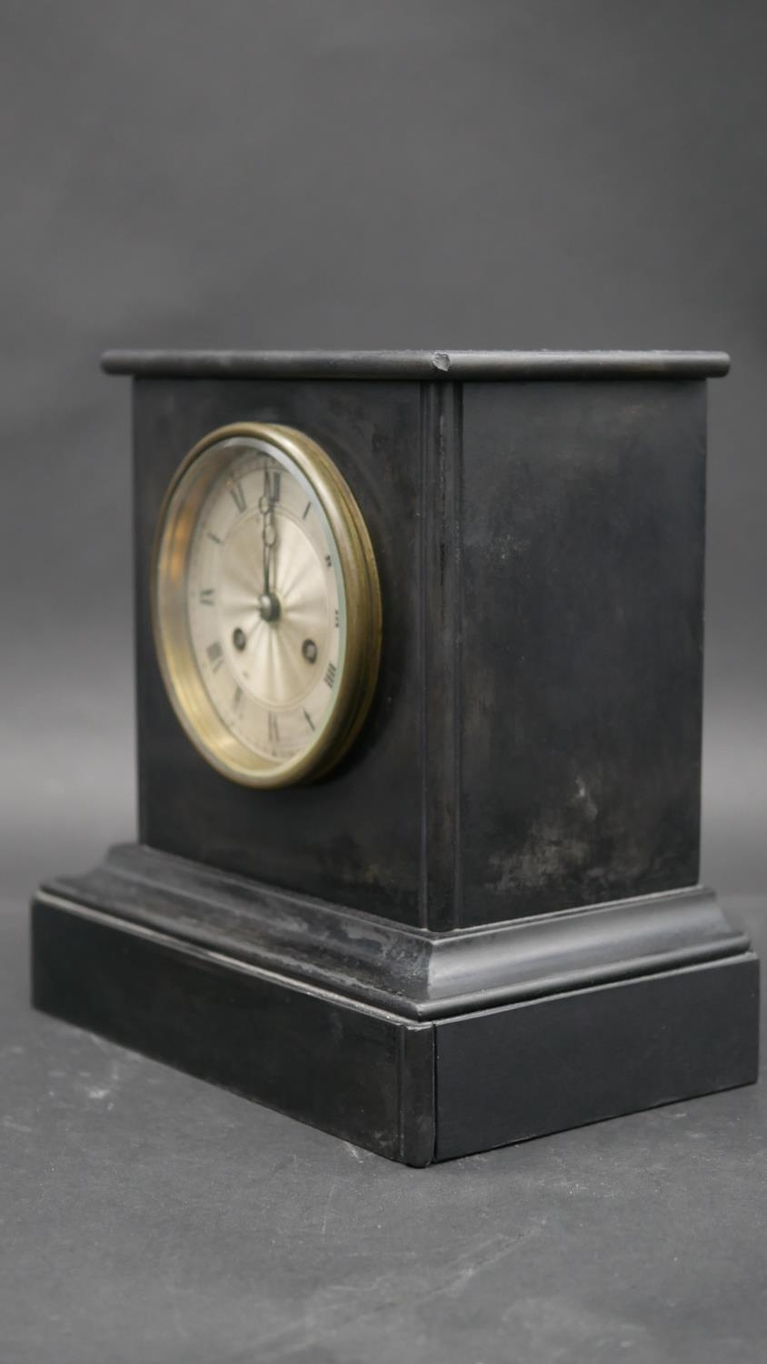 An ormolu and marble clock case on triple Trafalgar dolphin support and feet along with a late - Image 5 of 15