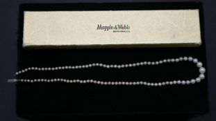 A cultured graduated pearl necklace with silver hook and push clasp with a Mappin & Webb box. L.49cm