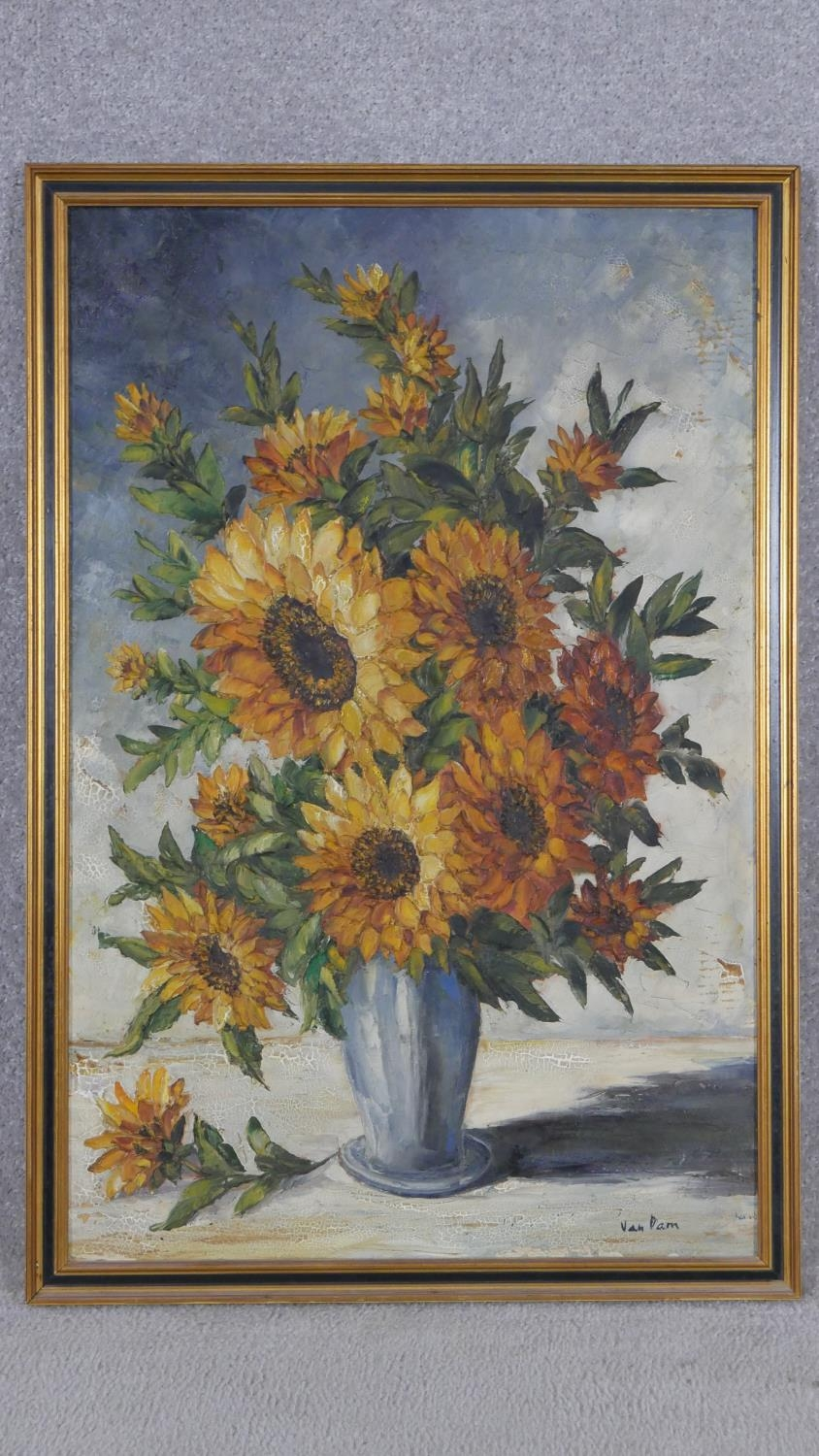A framed oil on canvas, sunflowers in a vase, signed Van Dam. H.81 W.55.5cm - Image 2 of 7