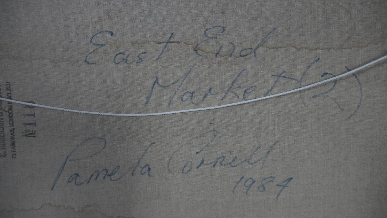 Pamela Cornell (1928-1987), unframed oil on canvas, East End Market, signed bottom right and signed, - Image 5 of 5