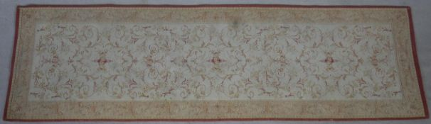 A contemporary Laura Ashley Aubusson style runner. L.226 W.66cm