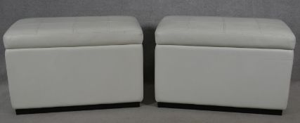 A pair of contemporary ottomans in buttoned faux leather. H.63 L.97 W.51cm