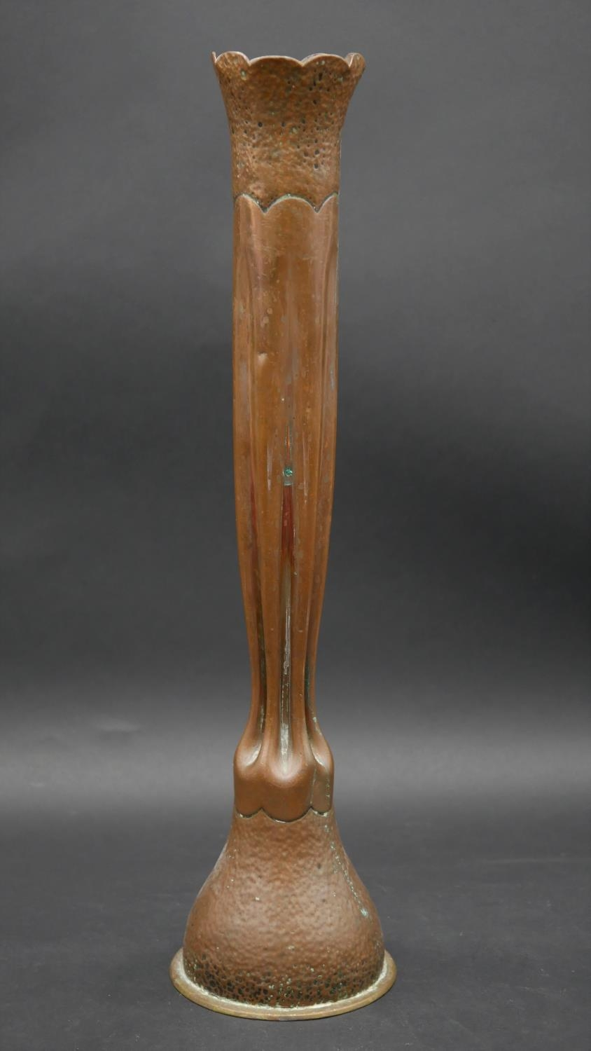 A WW1 Trench Art vase of hammered and fluted Art Nouveau form. H.50cm