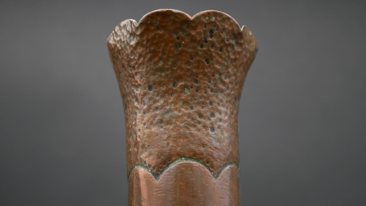 A WW1 Trench Art vase of hammered and fluted Art Nouveau form. H.50cm - Image 3 of 4