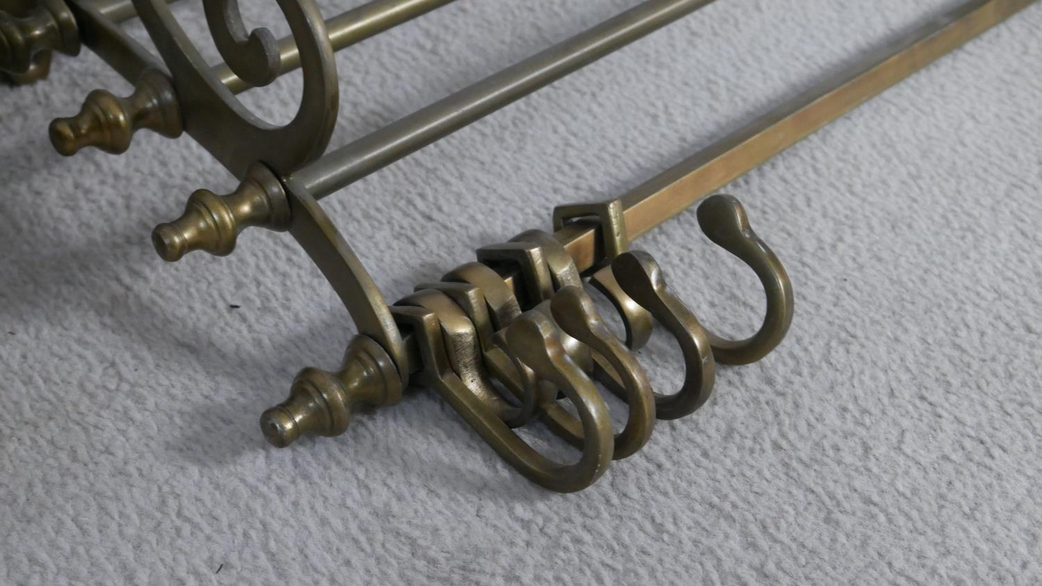 A 19th century brass wall mounted kitchen utilities rack and a heavy brass Victorian swing handled - Image 3 of 6
