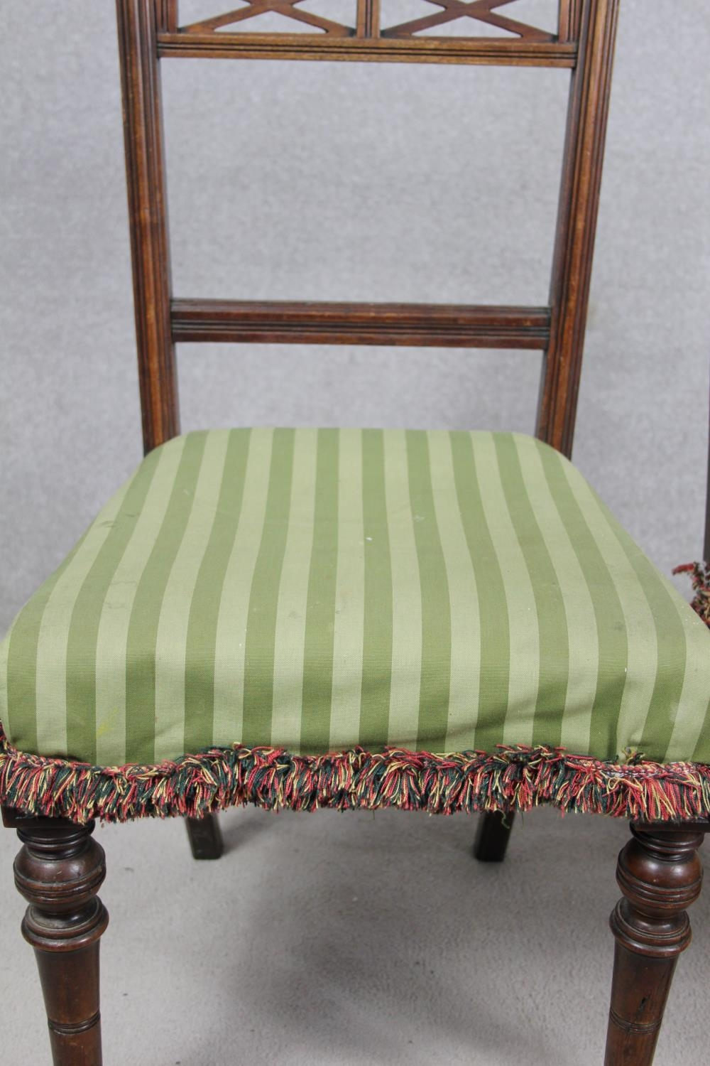 A pair of late 19th century mahogany bedroom chairs on turned tapering supports. H.87 W.48 D.50cm - Image 5 of 11