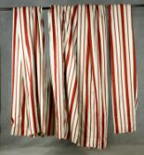 Two pairs of red and while lined striped silk curtains. H.270, top, W.55 bottom, W.180cm