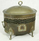 A late 19th century pierced and lidded brass coal bucket with it's original lift out zinc liner. H.