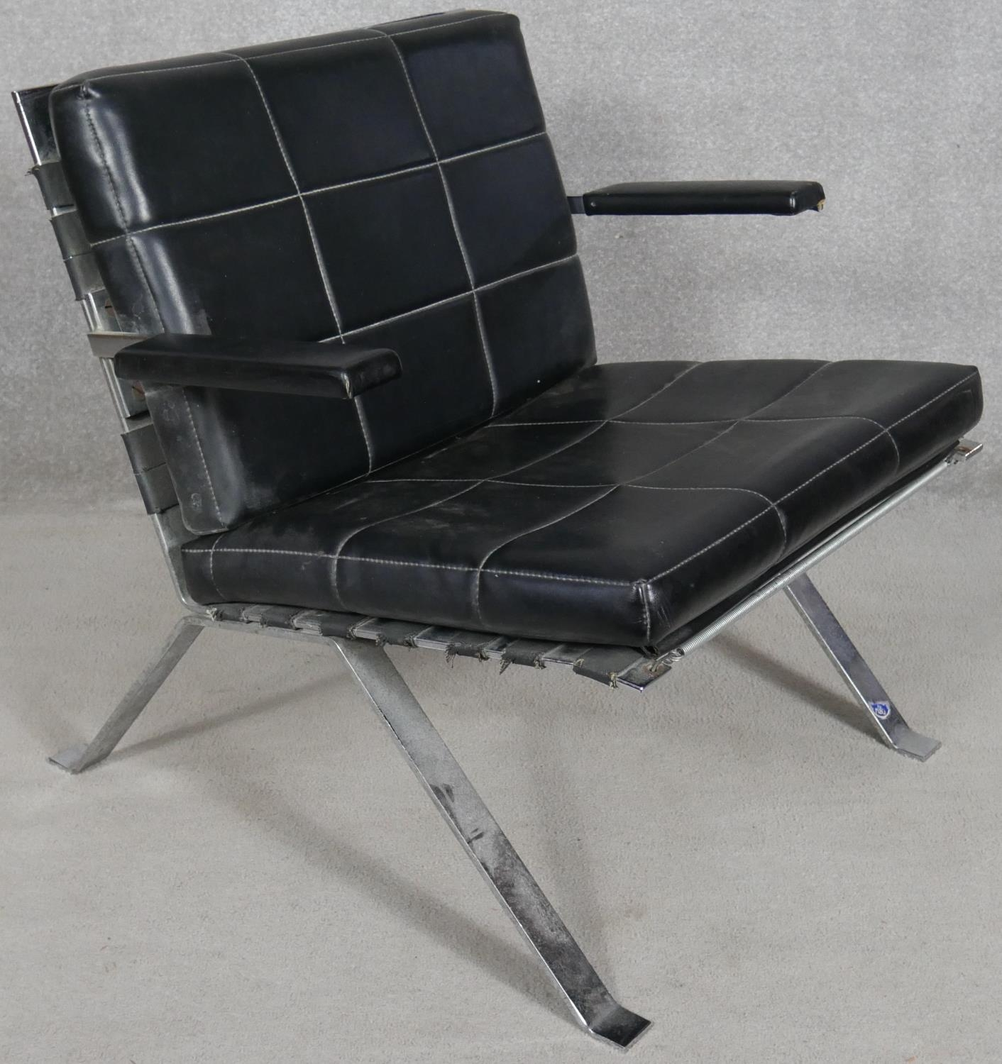 A pair of vintage leather upholstered salon chairs on chrome bases. H.68cm - Image 3 of 4