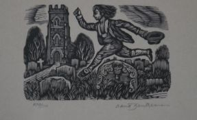 A framed and glazed woodbock print from the Shephards Calendar by English artist David Gentleman,