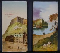Two 19th century painted tiles, one titled Edinbro' Castle the other of a loch scene. H.31 W.15.5cm
